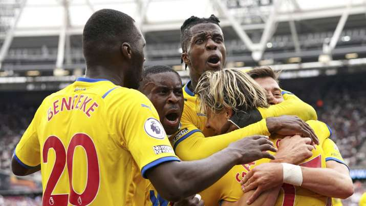 Crystal Palace's Conor Gallagher, right, celebrates with