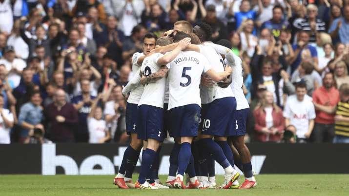 Tottenham players celebrate after Tottenham's Son Heung-min