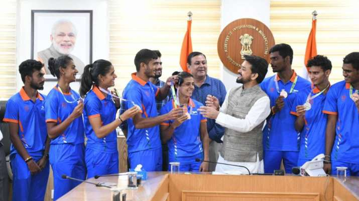 U-20 World Athletics C'ships: Sports Minister Anurag Thakur interacts with athletes and medallists