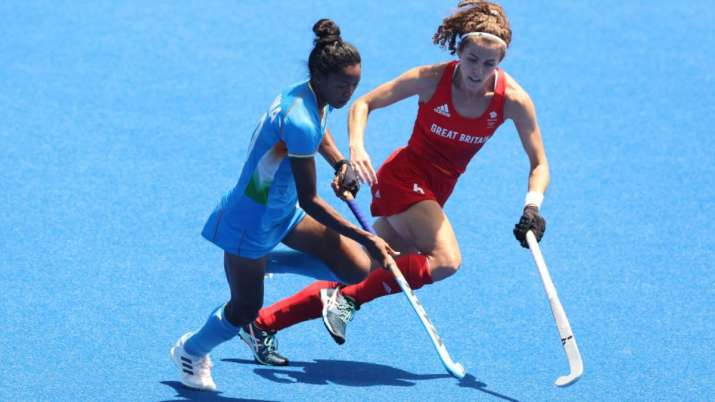 Salima Tete during India's bronze medal match versus Great Britain at the Tokyo Olympics