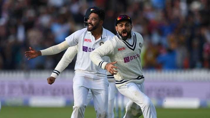 Virat Kohli celebrating India's win at Lord's