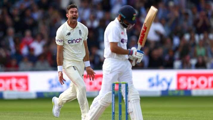 James Anderson celebrates after dismissing Virat Kohli