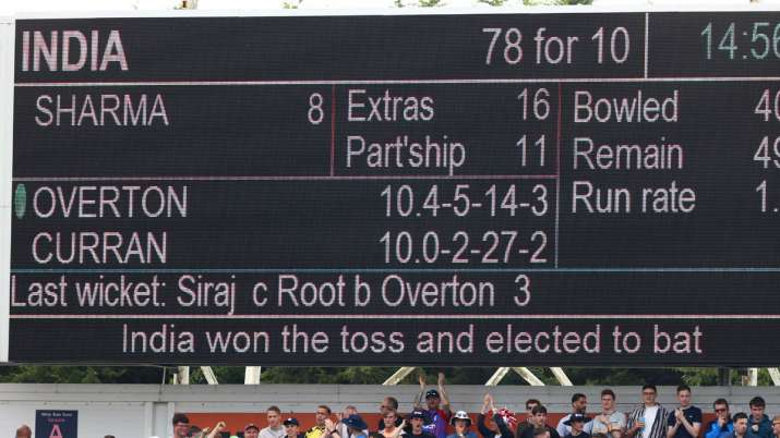 The scoreboard following India's first innings during day