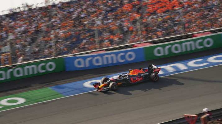 Red Bull driver Max Verstappen of the Netherlands steers