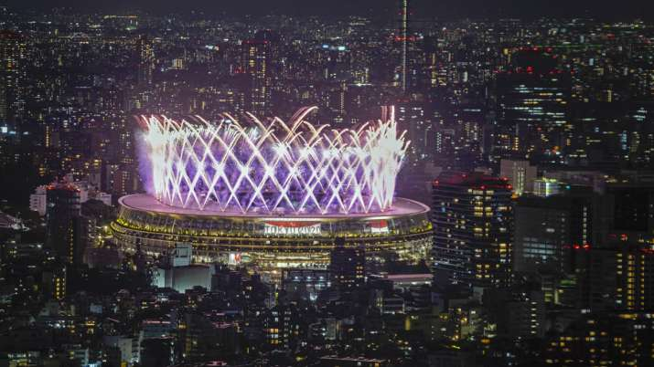 Fireworks illuminate over National Stadium viewed from