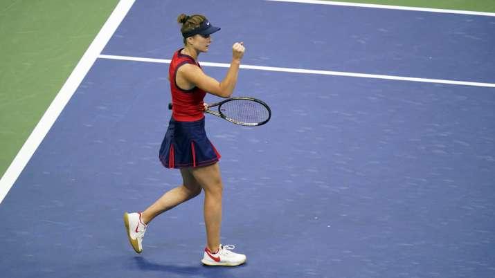 Elina Svitolina, of Ukraine, reacts while playing against
