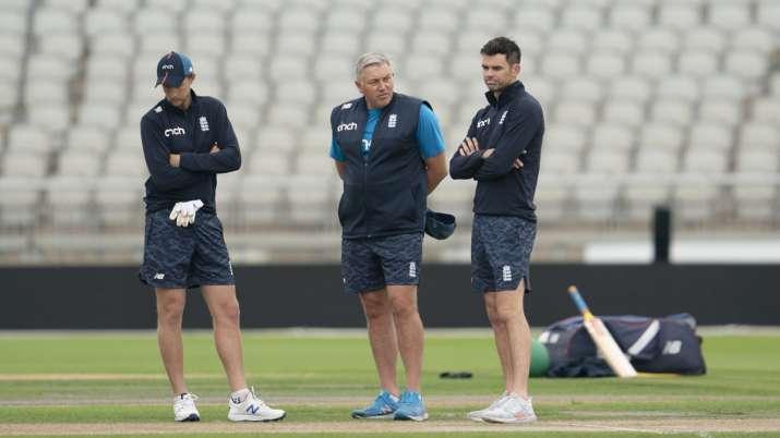 England's captain Joe Root, left, coach Chris Silverwood,