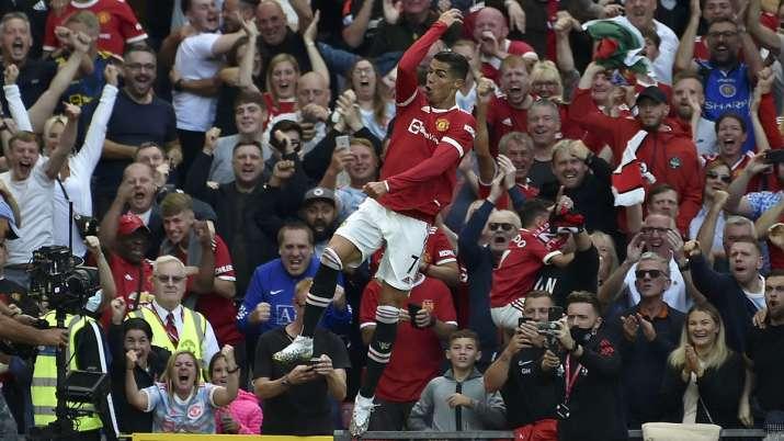 Manchester United's Cristiano Ronaldo celebrates after