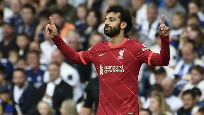 Liverpool's Mohamed Salah celebrates after scoring the