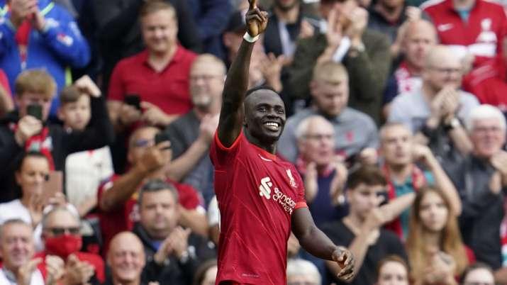 Liverpool's Sadio Mane celebrates after scoring the opening
