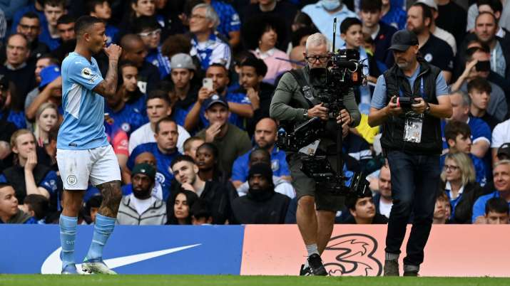 Gabriel Jesus of Manchester City celebrates scoring his