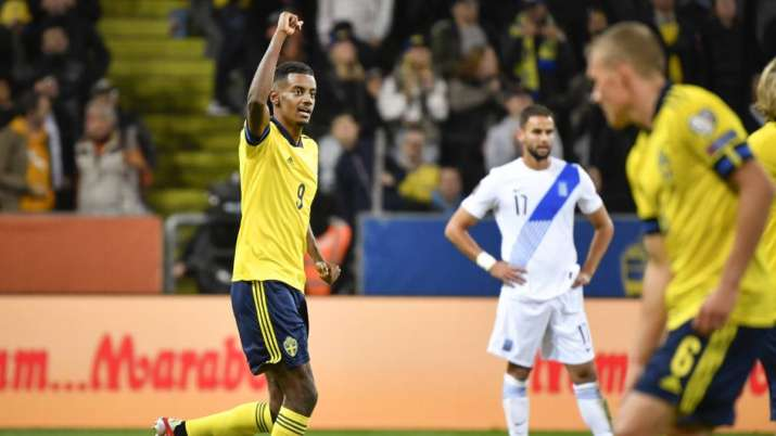 Swedens' Alexander Isak celebrates scoring during the World Cup Group B qualifying soccer match betw
