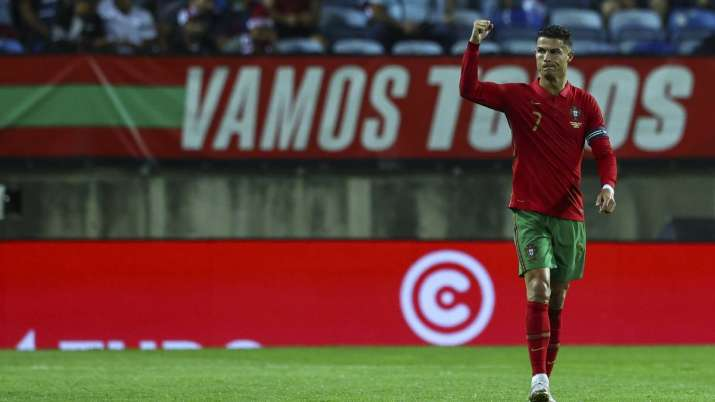 Cristiano Ronaldo of Portugal celebrates after scoring the team's first goal during the internationa
