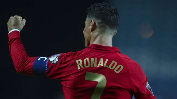 Cristiano Ronaldo of Portugal celebrates scoring Portugal's fifth goal and his third in the match du